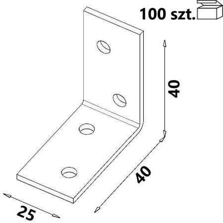 Kątownik KM0 40x40x25 x 2,0 mm (100 szt.)