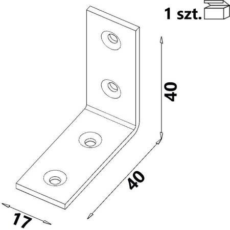 Kątownik KW2 40x40x17 x 2,0 mm (1 szt.)