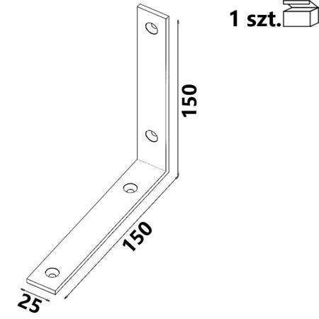 Kątownik KW7 150x150x25 x 4,0 mm (1 szt.)