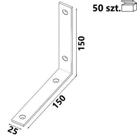 Kątownik wąski 150x150x25 x 4,0 mm KW7 (50 szt.)