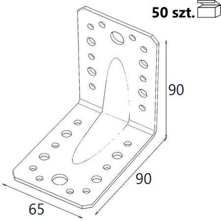 Kątownik z przetło. KP1 90x90x65 x 2,5mm (50 szt.)
