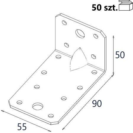 Kątownik z przetło. KP3 90x50x55 x 2,5mm (50 szt.)