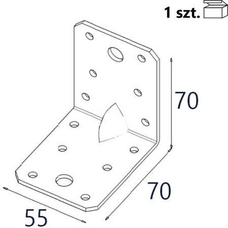 Kątownik z przetło. KP4/2 70x70x55 x 2,0mm (1 szt.)