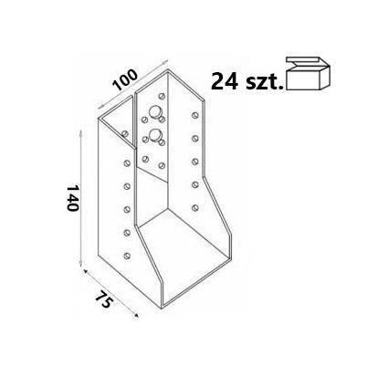 Wieszak belki WZ103 100x140x75x 2,0 mm (24 szt.)